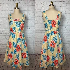 Manhattan Plaza Dress Vintage Yellow Hibiscus